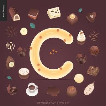 Dessert font - letter c