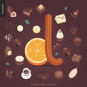 Десертный шрифт - буква d - современная плоская векторная концепция цифровой иллюстрации искушения шрифта, сладкие буквы. буквы из карамели, ириски, печенья, вафель, печенья, сливок и шоколада