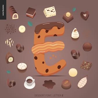 Десертный шрифт - буква e - современная плоская векторная концепция цифровой иллюстрации искушения шрифта, сладкие буквы. буквы из карамели, ириски, печенья, вафель, печенья, сливок и шоколада