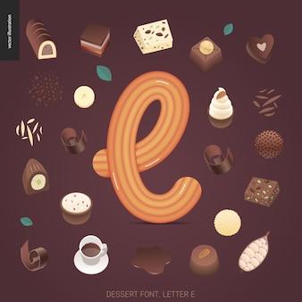 Dessert font - letter e
