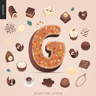 Десертный шрифт - буква g - современная плоская векторная концепция цифровой иллюстрации искушения шрифта, сладкие буквы. буквы из карамели, ириски, печенья, вафель, печенья, сливок и шоколада