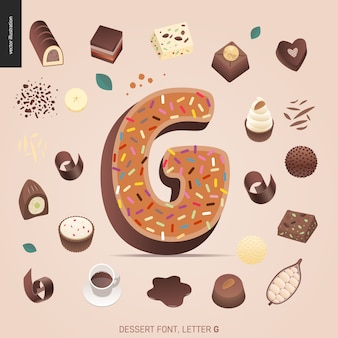 Dessert font - letter g - modern flat vector concept digital illustration of temptation font, sweet lettering. caramel, toffee, biscuit, waffle, cookie, cream and chocolate letters