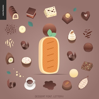 Десертный шрифт - буква i - современная плоская векторная концепция цифровая иллюстрация шрифта искушения, сладкой надписи. буквы из карамели, ириски, печенья, вафель, печенья, сливок и шоколада