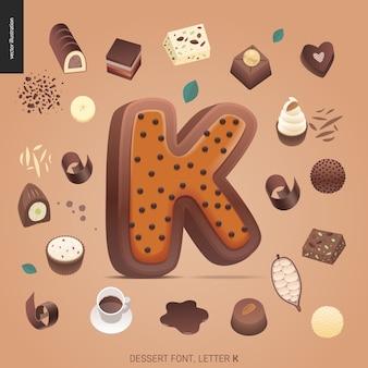 Десертный шрифт - буква k - современная плоская векторная концепция цифровой иллюстрации искушения шрифта, сладкие буквы. буквы из карамели, ириски, печенья, вафель, печенья, сливок и шоколада