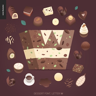 Dessert font - letter w - modern flat vector concept digital illustration of temptation font, sweet lettering. caramel, toffee, biscuit, waffle, cookie, cream and chocolate letters