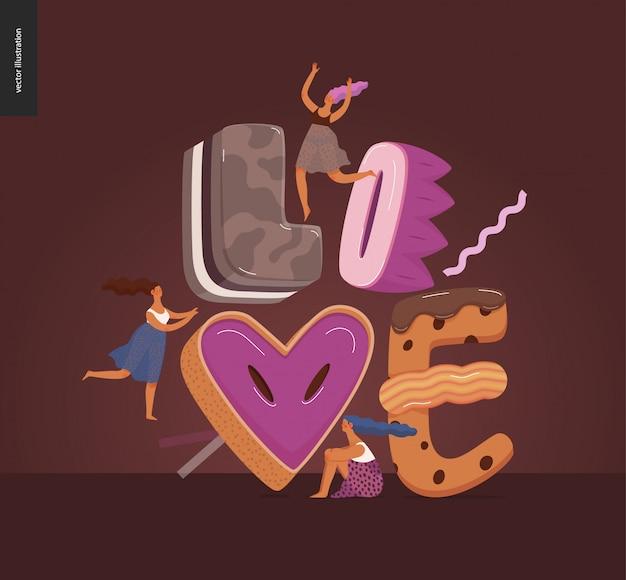 Десертный шрифт - современная плоская векторная концепция цифровая иллюстрация шрифта искушения, сладкой надписи и девочек. букеты из карамели, ириски, печенья, вафель, печенья, сливок и шоколада. надпись любовь
