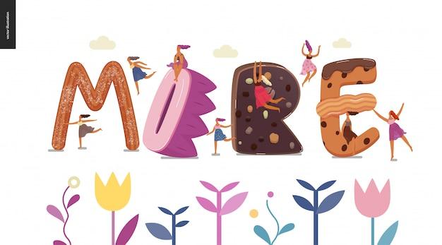 Десертный шрифт - современная плоская векторная концепция цифровая иллюстрация шрифта искушения, сладкой надписи и девочек. букеты из карамели, ириски, печенья, вафель, печенья, сливок и шоколада. надпись больше