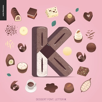Dessert font with theletter k