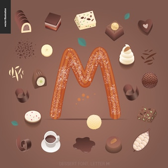 Dessert font with theletter m