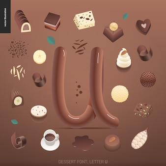 Dessert font with theletter u