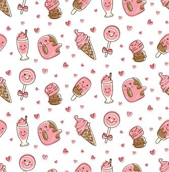Dessert food and drink seamless pattern