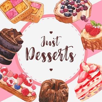 チョコレート、イチゴのケーキ、ベリーのタルトの水彩イラストとデザートフレームデザイン。