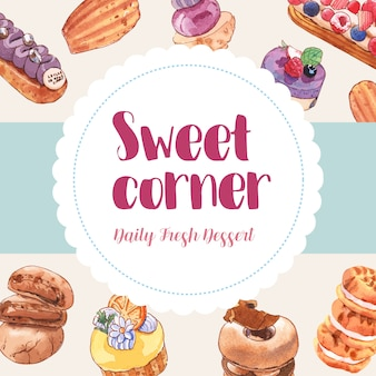 Dessert frame design with cupcake, cookie, doughnut watercolor illustration.