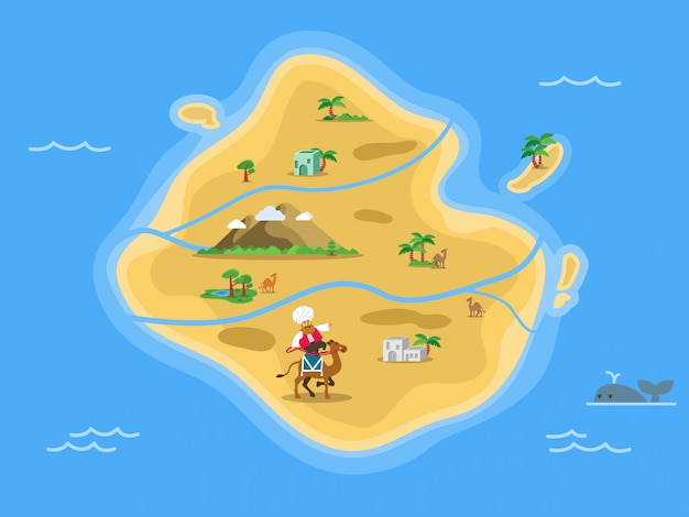 Dessert island map in the middle of ocean.