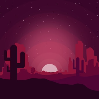 Dessert landscape in the night with cactus