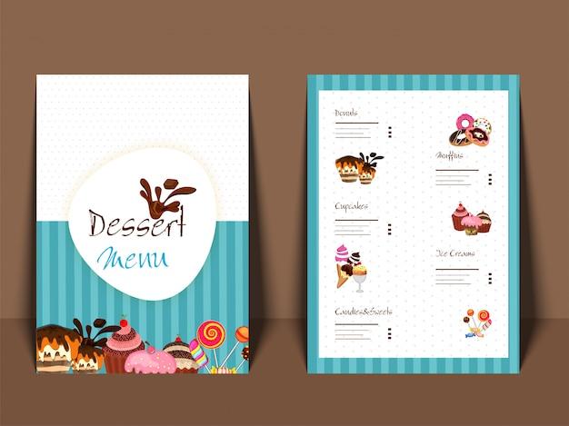 デザートメニュー表の表と裏のページデザインのカードデザイン。