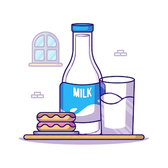 Dessert and milk bottle for world milk day   cartoon illustration