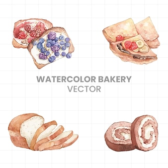 Dessert painted in watercolor on a white background