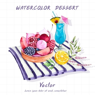 Dessert painted in watercolor on a white background.