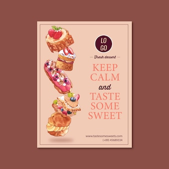 Dessert poster design with choux cream, meringue, strawberry shortcake watercolor illustration.