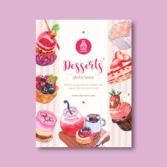 Dessert poster design with mousses, cupcake, tart, shortcake, jam watercolor illustration.