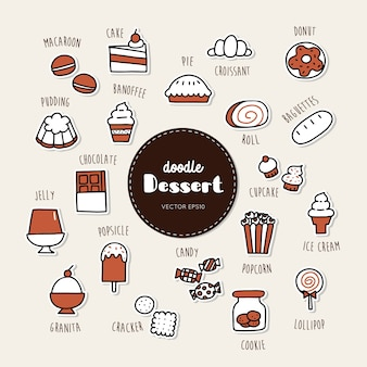Dessert and sweet hand drawn doodle icons set.