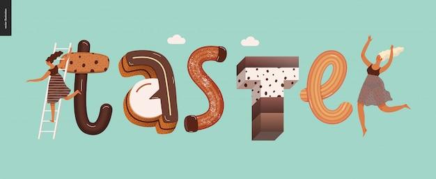 「taste」という言葉を含むデザートの誘惑フォント
