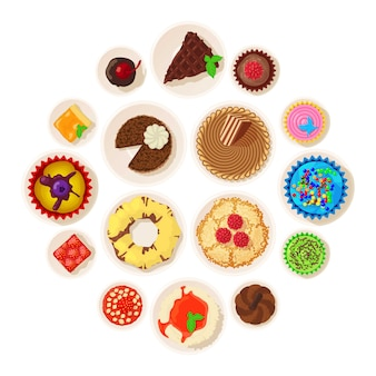 Dessert top view detailed icons set, cartoon style