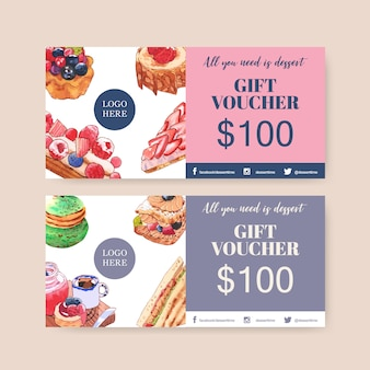 Dessert voucher design with bread, strawberry tart, sandwich watercolor illustration.