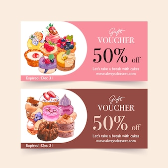 Dessert voucher design with custard cake, cupcake, chocolate cake watercolor illustration.