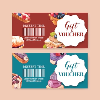 Dessert voucher design with pastry cream puff, cupcake, custard cake watercolor illustration.