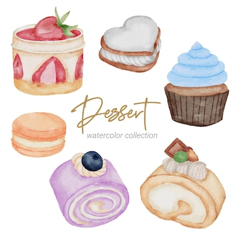 Dessert watercolor hand paint collection