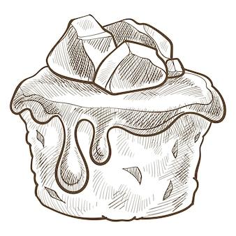 초콜릿 드립 토핑 또는 카라멜을 곁들인 디저트