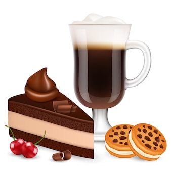 Dessert with coffee isolated on white background. realistic chocolate cake, bisquits, cherry and latte illustration