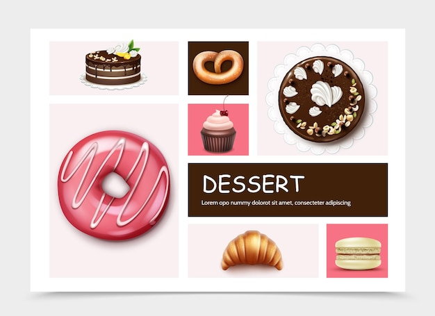 Инфографический шаблон десертов и тортов с пирогом, пончиком, кексом, макаруном, круассаном, кренделем в реалистичном стиле