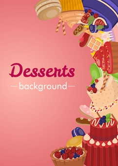 Desserts background with colorful glazed pastries
