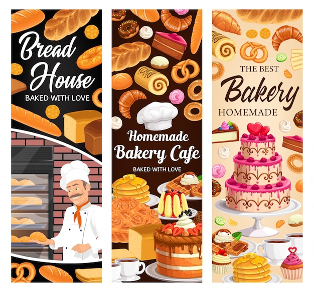 Desserts, cakes and bakery  banners set
