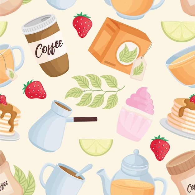 Desserts and drinks pattern icons
