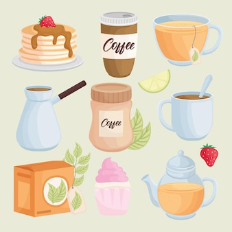 Desserts and drinks set icons