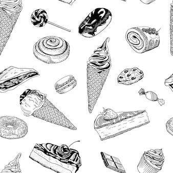Desserts hand-drawn ink vector seamless pattern. ice-cream, cupcake, cheesecake, buscuit roll, cookie, candy, lollipop, donat, pie, cake, macaron, cinnamon roll