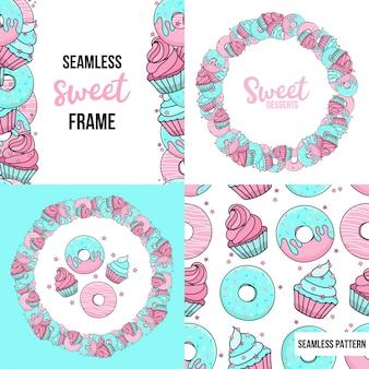 Десерты. безшовная картина и рамка с сладостными десертами. голубые и розовые пончики, кексы, конфетти.