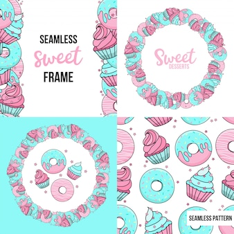 Desserts. seamless pattern and frame with sweet desserts. blue and pink donuts, muffins, confetti.