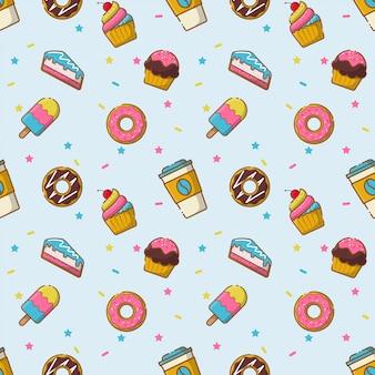 Desserts seamless pattern