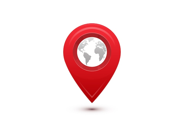目的地の概念。国際旅行の旅。灰色の世界地図が入った赤いポインター。