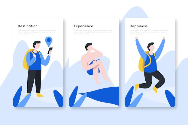 Destination and experience onboarding app screens