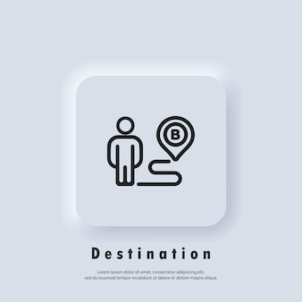 Destination icon. route location. map location icon. map pin, direction, paths, navigation. vector eps 10. ui icon. neumorphic ui ux white user interface web button. neumorphism