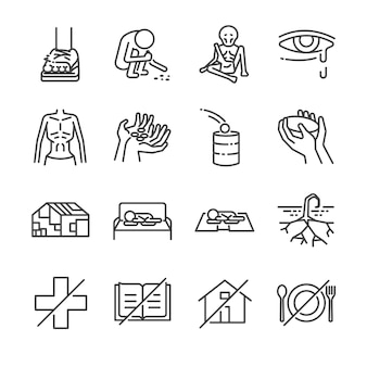 Destitution line icon set.