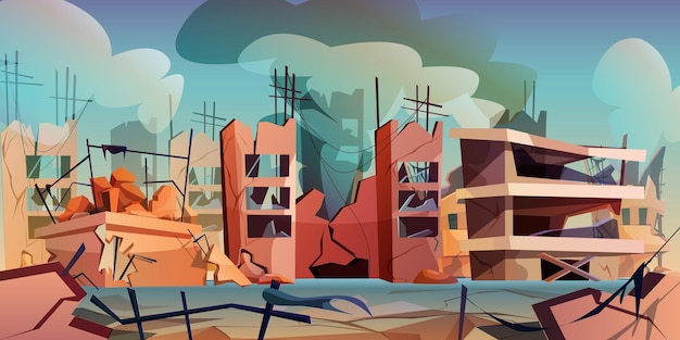 Destroyed city after war or natural disaster in cartoon style