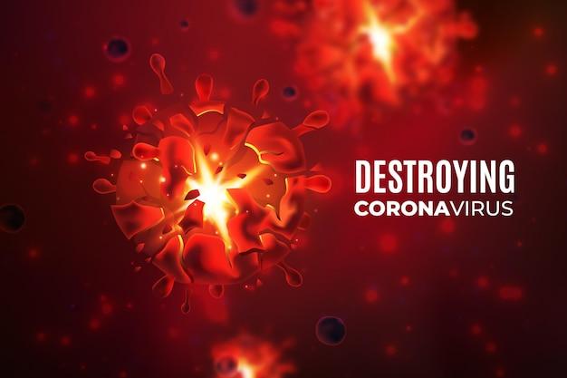 Destroying coronavirus background with realistic virus