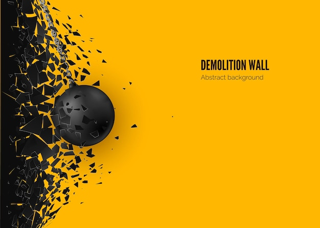 Destruction effect. abstract cloud of pieces and fragments after wall demolition by wrecking ball.